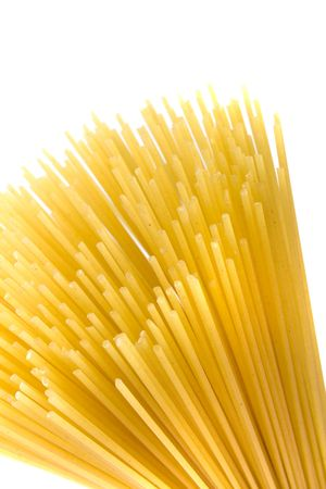 uncooked spaghetti noodles isolated on white background Stock Photo