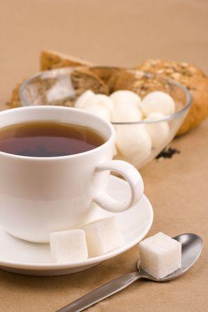cup of tea, mozzarella and bread closeup photo