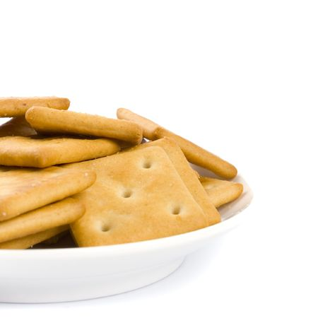 cookies on plate isolated on white backgrounds photo