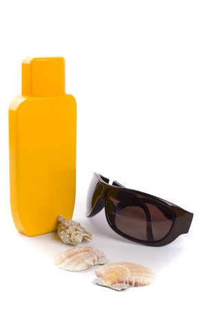 sunglasses and lotion closeup on white background Stock Photo - 4576217