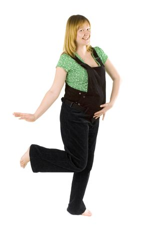 pregnant woman dancing on white background photo