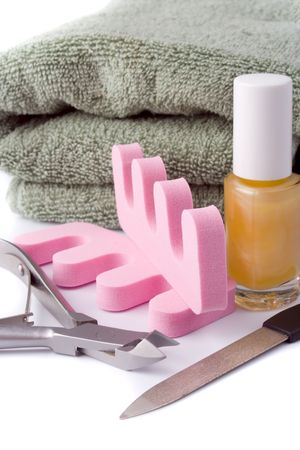 pedicure beauty set and towel on white background Stock Photo - 4576313