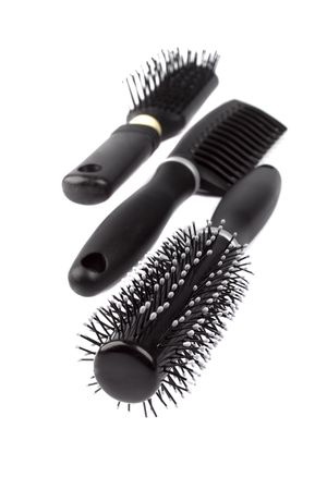 three hairbrushes on white background Stock Photo - 4576310