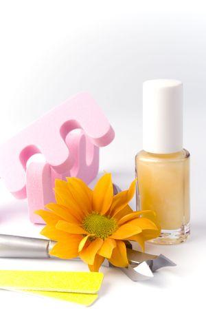pedicure beauty set and flower cliseup Stock Photo - 4588720