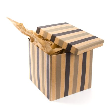 isolated open gift box with craft paper inside Stock Photo - 4594087