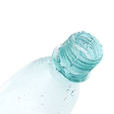 bottle with water drops closeup on white background Stock Photo - 4594088