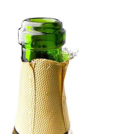 champagne bottle closeup on white background photo