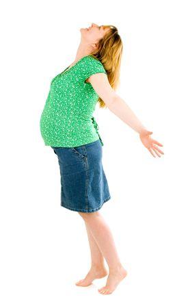 pregnant woman on white background photo