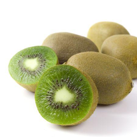 some fresh kiwi on white background photo