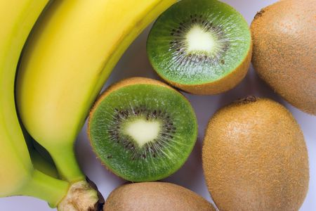 some fresh kiwi and banana closeup photo