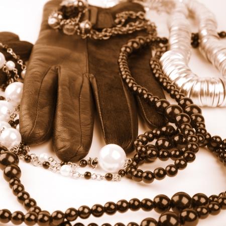 vintage mode accessoires afgezwakt beeld Stockfoto