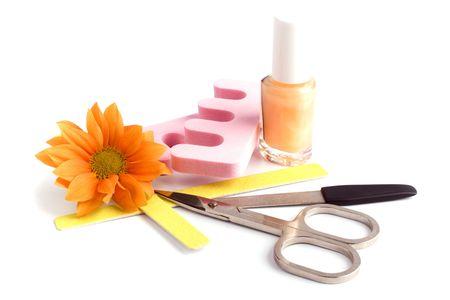manicura pedicura: pedicura belleza establecidos y flores de cerca Foto de archivo