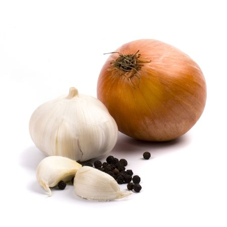 onion, garlic and black pepper on whine background photo