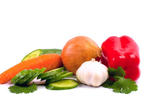 fresh vegetables closeup on white background Stock Photo - 4781313