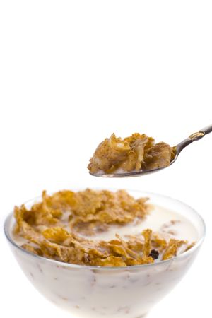 cornflakes with milk in a bowl closeup isolated on white photo