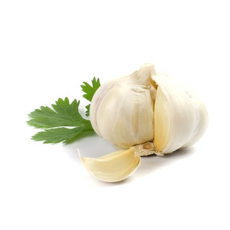 ajo: ajo verde con hojas de perejil en el fondo blanco