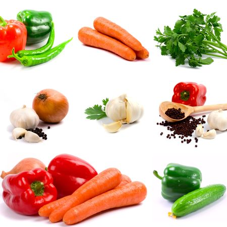 collection of vegetables on white background photo