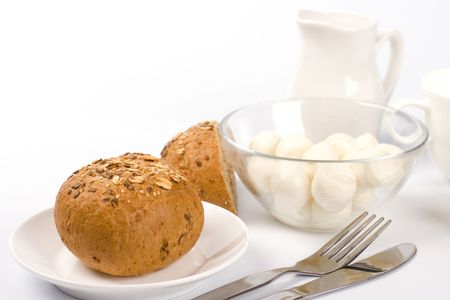 bread, milk and mozzarella closeup on white Stock Photo - 4849647