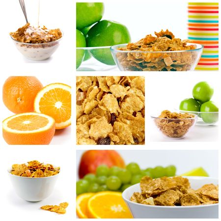 healthy breakfast: cornflakes with milk and fruit collection. Stock Photo - 4849656