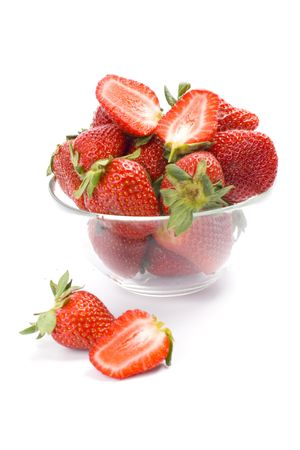 strawberries in the bowl closeup on white background Stock Photo - 4968329