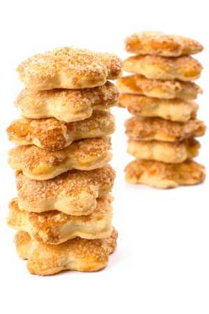 two stacks of cookies on white background Stock Photo - 4991015