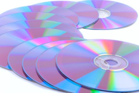 DVDs on white background photo