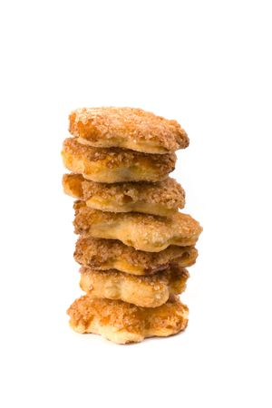 stack of cookies isolated on white background photo