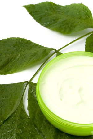 face cream with green leaf on white background photo