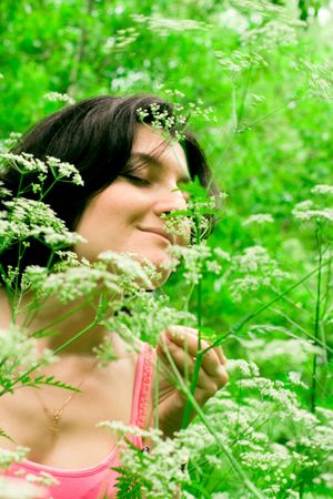 female relaxing in summer forest Stock Photo - 5023493