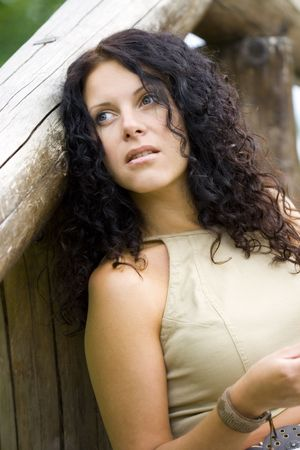 outdoor portrait of a beautiful woman photo