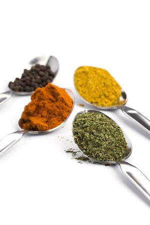 metal spoons with various ground spices on white background photo