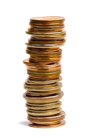 goldish: coins stack isolated on white background
