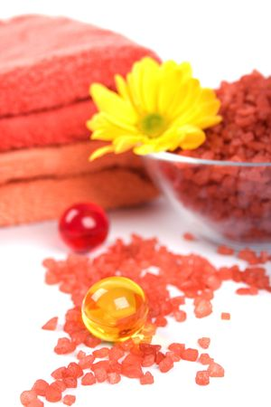 spa products: bath salt, oil balls, towels and flower Stock Photo - 5107135