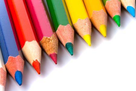 color pencils closeup on white photo