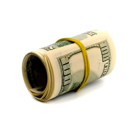 dollar tube on white background photo