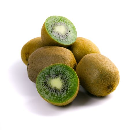 some fresh kiwi on white background photo