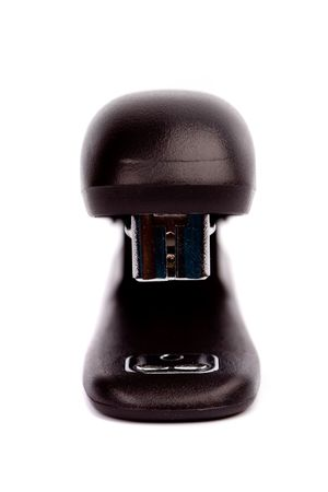 black office strip stapler on white background photo