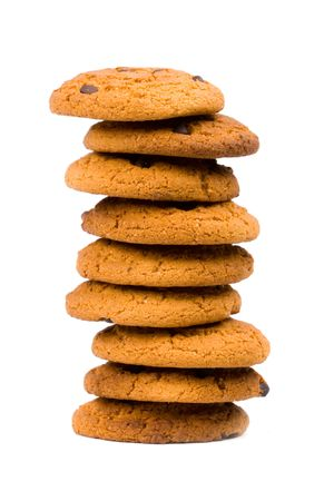 chomp: stack of oatmeal chocolate chip cookies isolated on white background Stock Photo