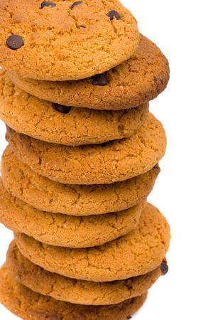 stack of oatmeal chocolate chip cookies closeup photo