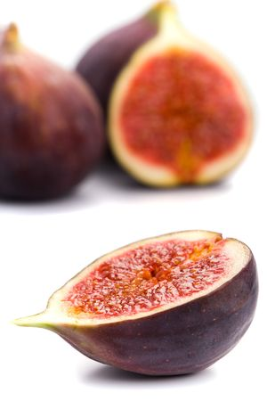 fresh figs closeup on white background Stock Photo - 5597542