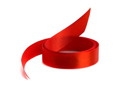 red satin ribbon isolated on white background photo