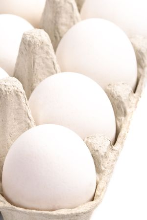 white eggs in packing closeup Stock Photo - 5597530