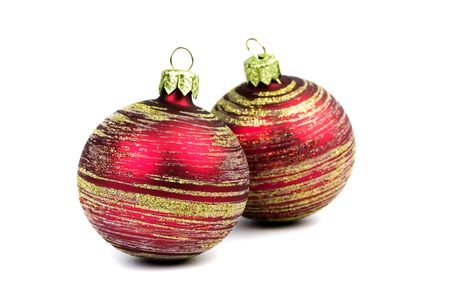 two red glass christmas balls isolated on white background photo