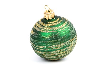 green glass christmas ball isolated on white background Stock Photo - 5644444