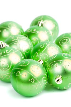 green glass christmas balls closeup on white background Stock Photo - 5644448