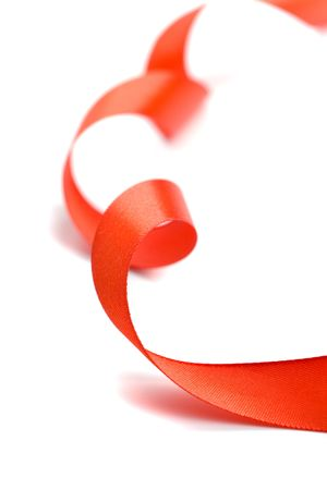red satin ribbon closeup on white background Stock Photo - 5698344