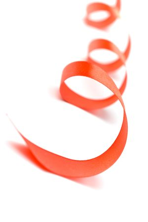 red satin ribbon closeup on white background Stock Photo - 5698342
