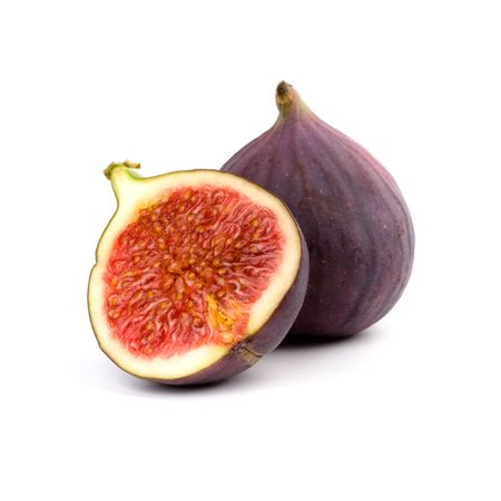 purple fig: fresh figs isolated on white background Stock Photo
