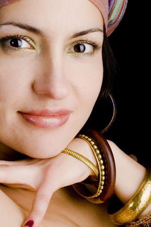 closeup portrait of attractive asian woman photo