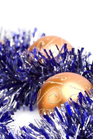 golden christmas balls and tinsel closeup   photo